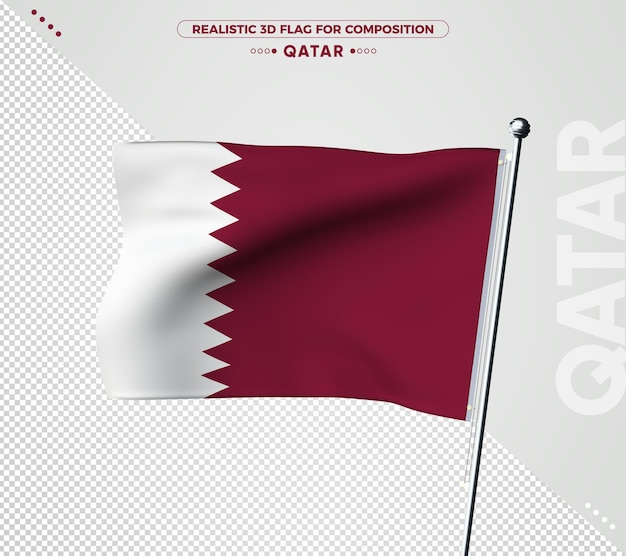 Qatar 3d vlag met realistische textuur