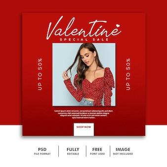 Quadrato rosso di instagram della posta di media di valentine banner social girl della moda