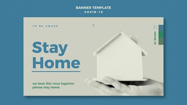 Quedarse en casa concepto de plantilla de banner