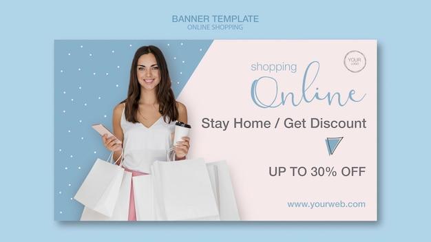 Quédese en casa y compre la plantilla de banner en línea