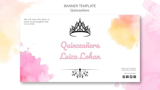 Quinceanera feest banner sjabloon