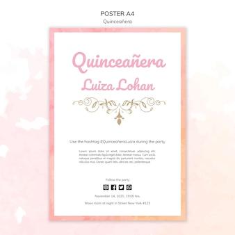 Quinceanera sjabloon partij poster