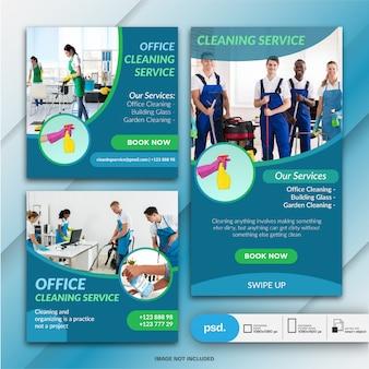 Raccolta banner servizio di pulizia