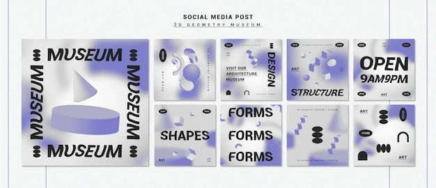 Raccolta della posta del instagram di forme geometriche 3d