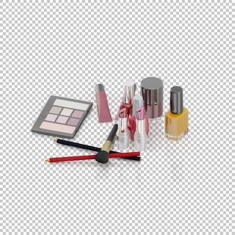 Raccolta di elementi di cosmetici isometrici