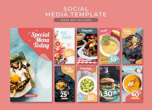 Raccolta di modelli di fast food di post di storia di instagram o banner quadrato