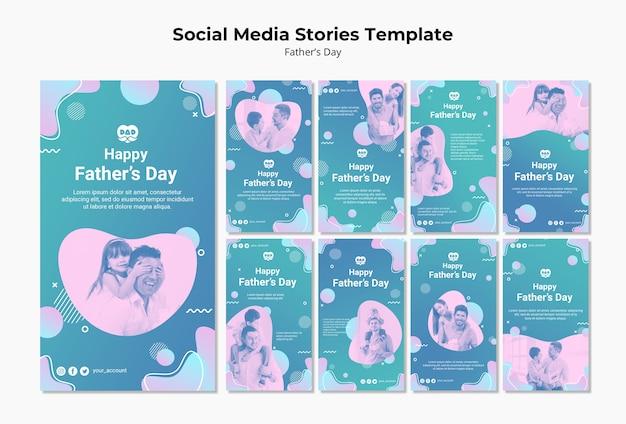 Raccolta di storie di instagram colorato giorno di padri