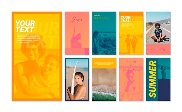 Raccolta di storie di instagram con il concetto di sport estivi