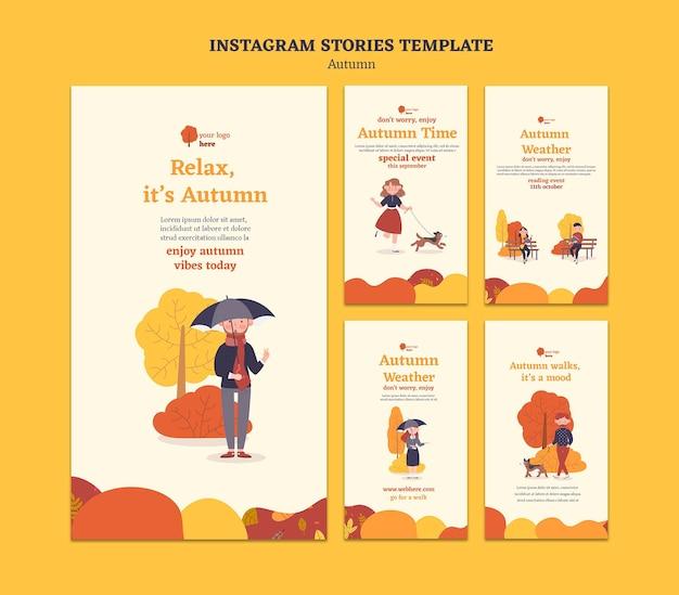 Raccolta di storie di instagram per attività autunnali all'aperto