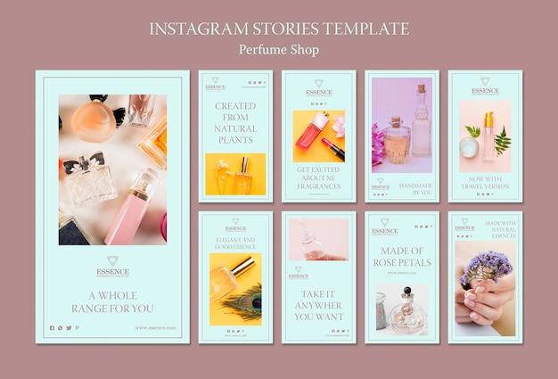 Raccolta di storie di instagram per il profumo