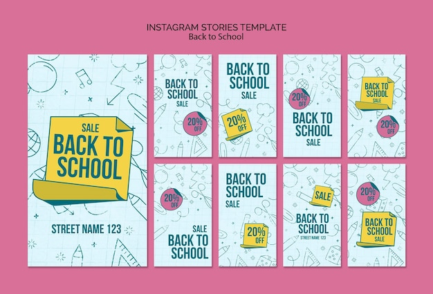 Raccolta di storie di instagram per il ritorno a scuola