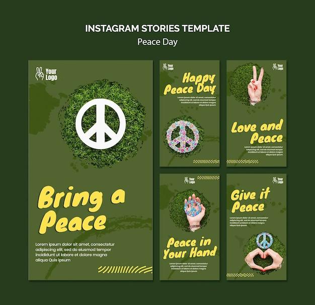 Raccolta di storie di instagram per la giornata mondiale della pace