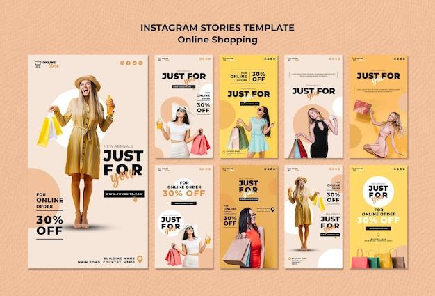 Raccolta di storie di instagram per la vendita di moda online