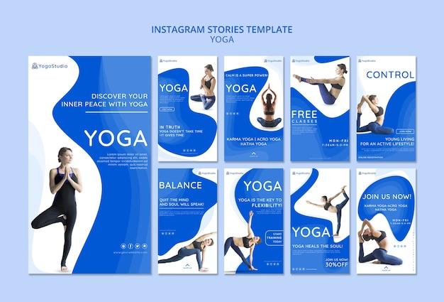 Raccolta di storie di instagram per lo yoga fitness