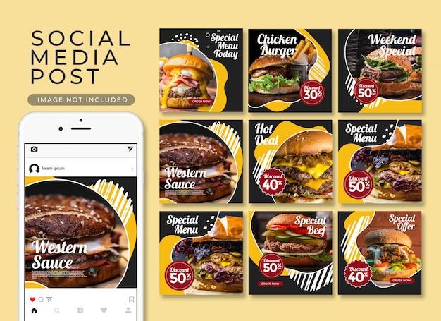 Raccolta sociale del modello del menu del ristorante della posta del instagram dell'alimento di media sociali