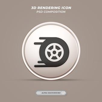 Raceauto tyer pictogram in 3d-rendering