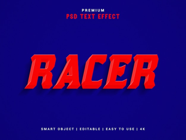 Racer text effect-sjabloon, psd.