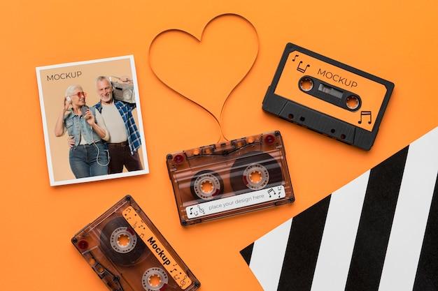 Radio cassettebandjes met mock-up