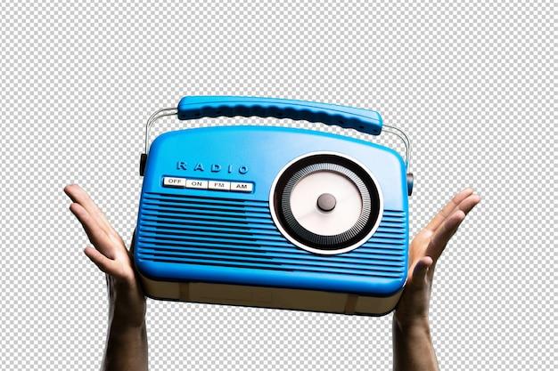 Radio vintage blu isolata