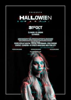 Ragazza carina sul poster di halloween con effetto glitch