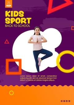 Ragazza che equilibra per modello di sport per bambini