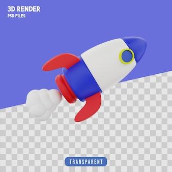 Raket in beweging 3d-rendering geïsoleerd premium