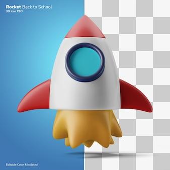 Raket versnellen symbool 3d illustratie weergave pictogram bewerkbare kleur geïsoleerd