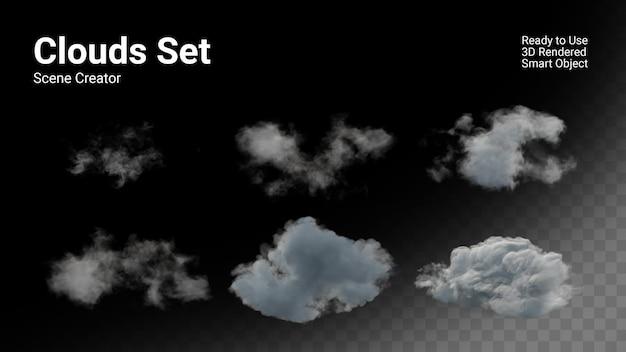 Ralistische wolken instellen geïsoleerd