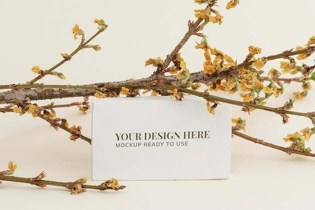 Rama de forsythia seca con una maqueta de tarjeta sobre un fondo beige