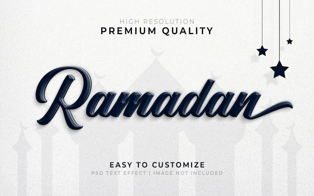 Ramadan 3d tekststijl effect mockup