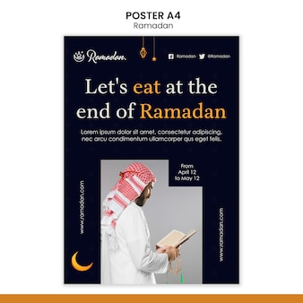 Ramadan evenement folder sjabloon met foto