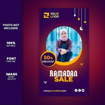 Ramadan fashion sale voor sociale media promotie verhaal paginasjabloon Premium Psd