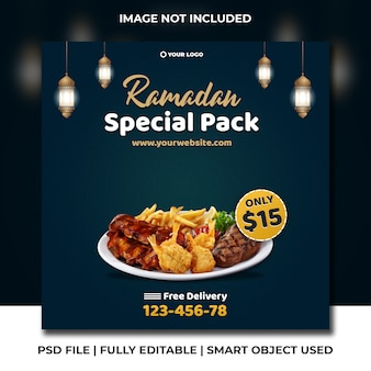 Ramadan ied iftar barbecue groene instagram verhaal banner post