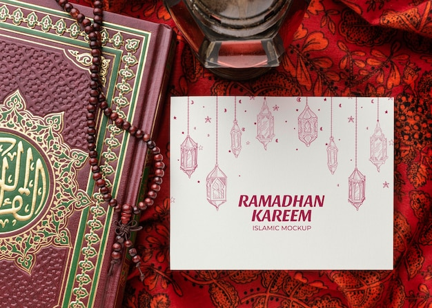 Ramadan islamitische print mockup bovenaanzicht