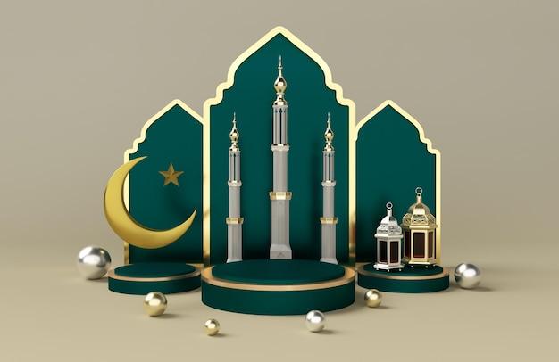 Ramadan kareem 3d podium render islamitische heilige dag