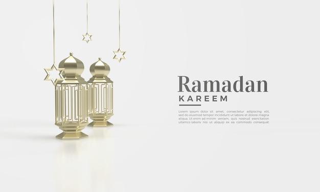 Ramadan kareem 3d render met gouden lamp illustratie