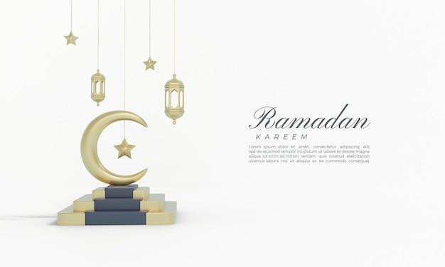 Ramadan kareem 3d render met gouden maan en sterren op trappen