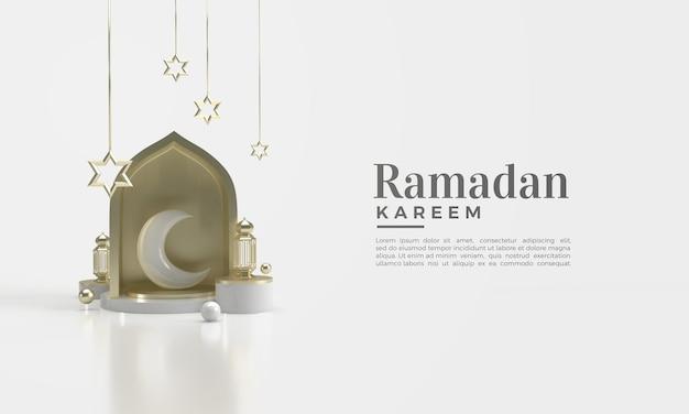 Ramadan kareem 3d render met halve maan illustratie in de kamer