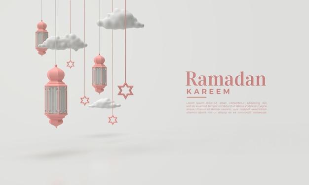 Ramadan kareem 3d render met hangende lichten