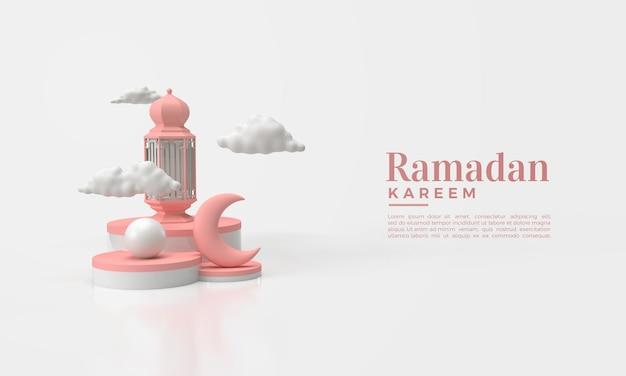 Ramadan kareem 3d render met illustratie van de maan en roze lichten