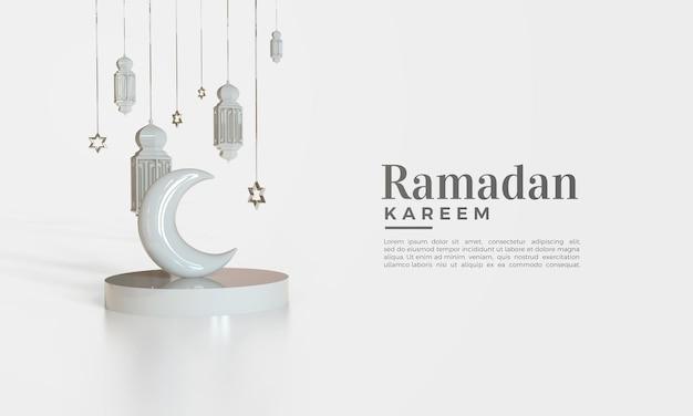 Ramadan kareem 3d render met illustratie van lichten en maan op het podium