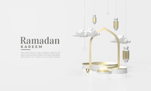 Ramadan kareem 3d render met illustratie van wolken en hangende lichten