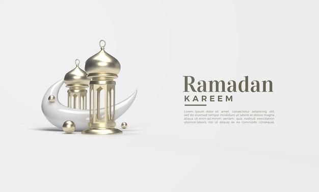 Ramadan kareem 3d render met klassieke kroonluchter en wassende maan