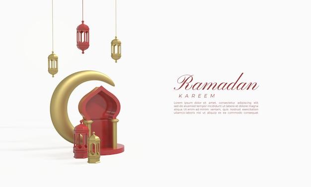 Ramadan kareem 3d-rendering met hangende lichten en een gouden halve maan