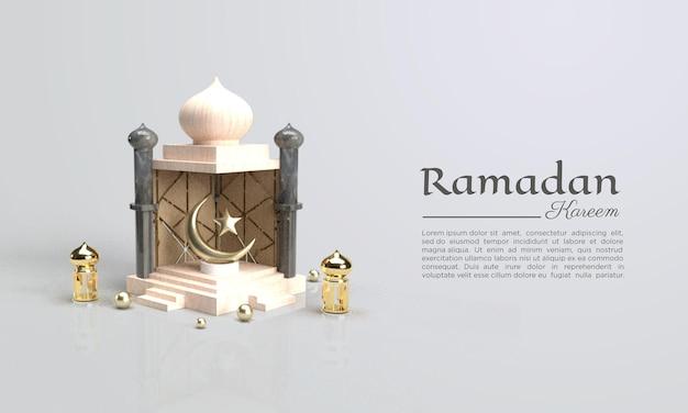 Ramadan kareem 3d-rendering met koepels en lamp illustratie