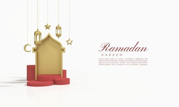 Ramadan kareem 3d-rendering met rode zaal en podium