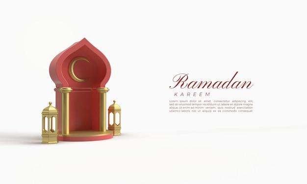 Ramadan kareem 3d-rendering met rode zalen en gouden lichten