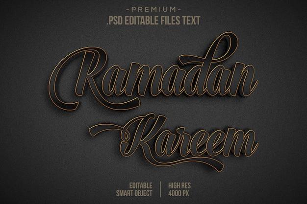 Ramadan kareem 3d-tekststijleffect, glanzend zwart goud ramadan kareem-teksteffect