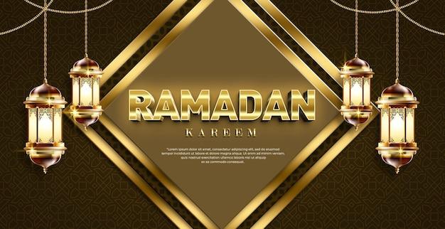 Ramadan kareem 3d-tekststijleffectsjabloon met lantaarn