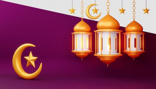 Ramadan kareem achtergrond, 3d-rendering illustratie Premium Psd